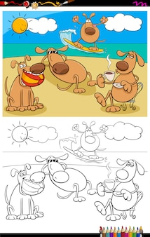 Desenhos de cães no grupo de férias para colorir