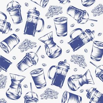 Desenhos de café gravados desenhados à mão