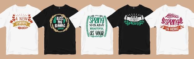 Desenhos de camisetas de primavera com letras de pacote
