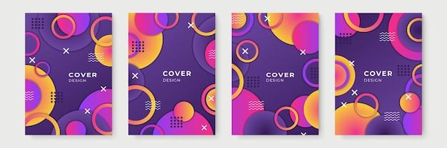Desenhos de capa geométrica gradiente abstrata, modelos de brochura da moda, cartazes futuristas coloridos. ilustração vetorial. amostras globais