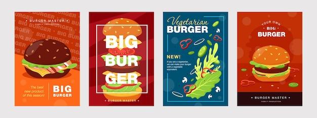 Desenhos de cartaz da moda com hambúrguer e ingredientes. brochuras vivas para cafés ou restaurantes de fast food.