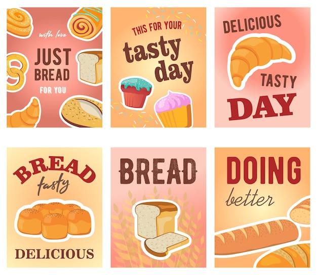 Desenhos de cartões de dia saborosos com pão e muffins