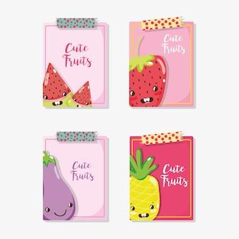 Desenhos de cartões de frutas de sugestão vector design gráfico de ilustração