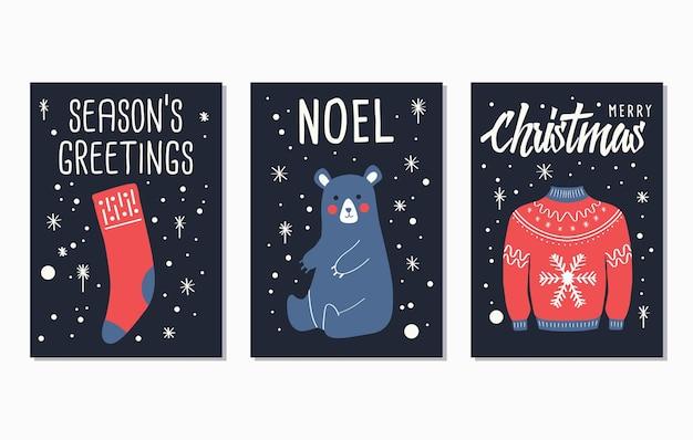 Desenhos de cartões de letras de texto de feliz natal
