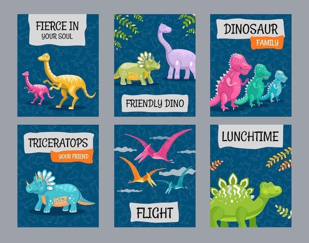 Desenhos de cartões positivos com dinossauros engraçados