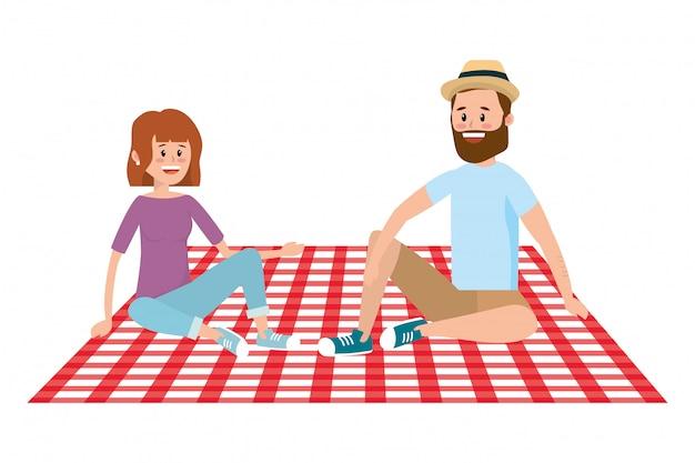 Desenhos de casal e piquenique