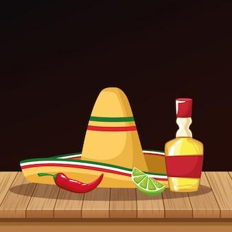 Desenhos de chapéu mexicano e tequila