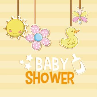 Desenhos de chuveiro de bebê com brinquedos de cabide