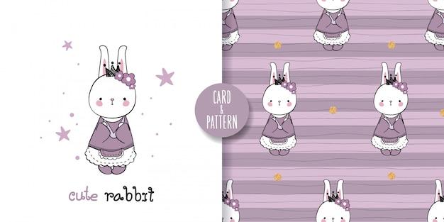 Desenhos de coelho de estimação fofos animal de estimação desenhado à mão vestindo uma fantasia estampada retrô gestos sorriso colorido no padrão sem emenda e ilustração