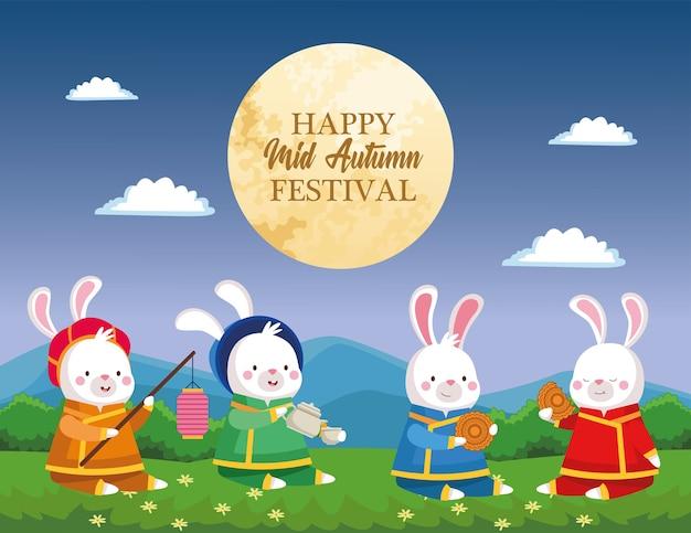 Desenhos de coelhos em tecido tradicional com xícara de bule de chá com lanterna e design mooncake, feliz festival da colheita do meio do outono chinês oriental e tema de celebração