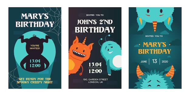Desenhos de convite de aniversário criativos com monstros bonitos. convites de festa de máscaras da moda com texto. conceito de celebração e férias. modelo de folheto, banner ou panfleto