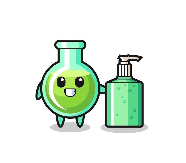 Desenhos de copos de laboratório fofos com desinfetante para as mãos, design de estilo fofo para camiseta, adesivo, elemento de logotipo