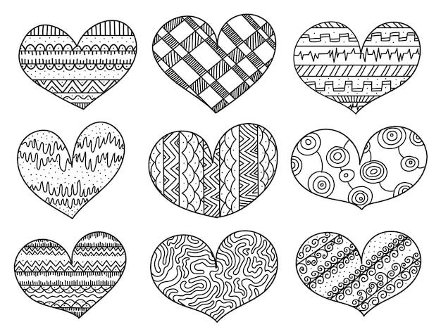 Desenhos de corações com coleção de enfeites
