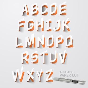 Desenhos de corte de papel do alfabeto.