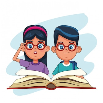 Desenhos de crianças e livros