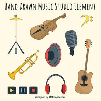 Desenhos de diferentes elementos relacionados com um estúdio de música