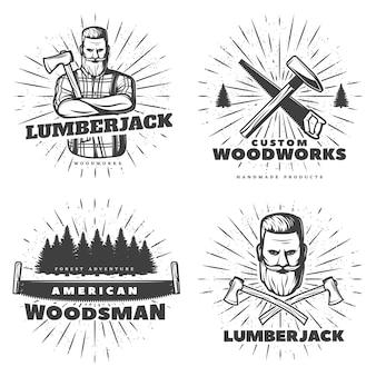 Desenhos de emblemas do woodsman sunburst