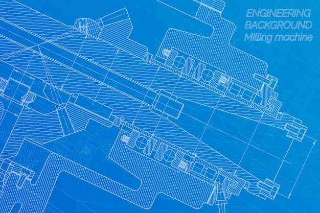 Desenhos de engenharia mecânica. eixo da máquina de trituração. design técnico