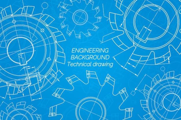 Desenhos de engenharia mecânica em fundo azul, ferramentas de corte, fresa, projeto técnico cov ...