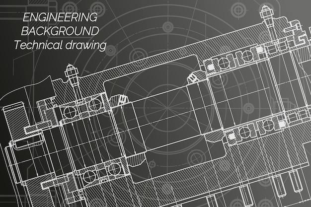 Desenhos de engenharia mecânica em fundo preto. fuso da fresadora.