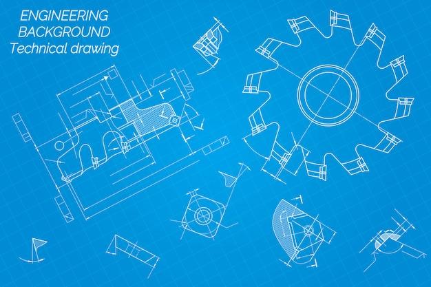 Desenhos de engenharia mecânica. ferramentas de corte, fresa.