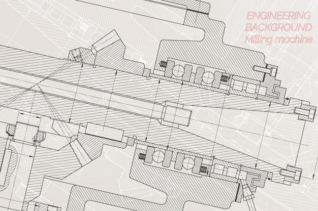 Desenhos de engenharia mecânica na luz de fundo. eixo da máquina de trituração.