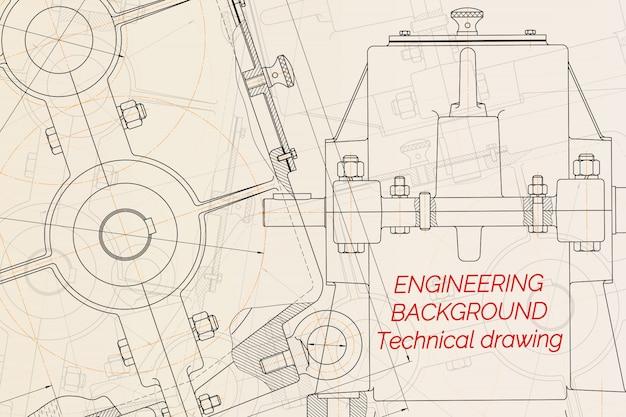 Desenhos de engenharia mecânica na luz de fundo. redutor.