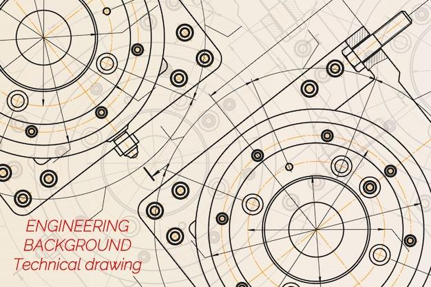 Desenhos de engenharia mecânica no fundo claro.
