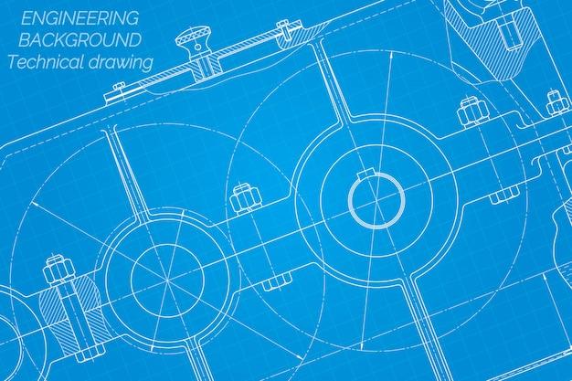 Desenhos de engenharia mecânica. redutor. design técnico.