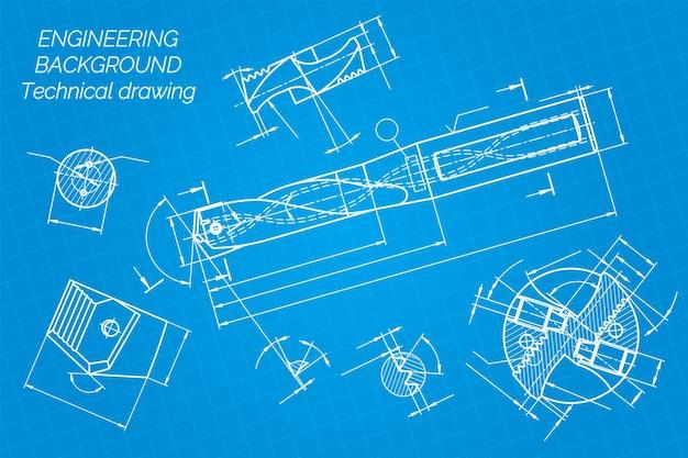 Desenhos de engenharia mecânica sobre fundo azul, ferramentas de perfuração, broca projeto técnico, capa blueprin ...