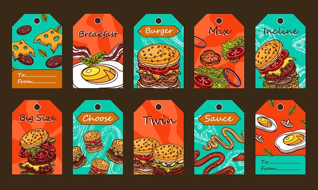 Desenhos de etiquetas especiais com hambúrgueres. ingredientes fatiados, molho e ovo frito em fundo colorido.