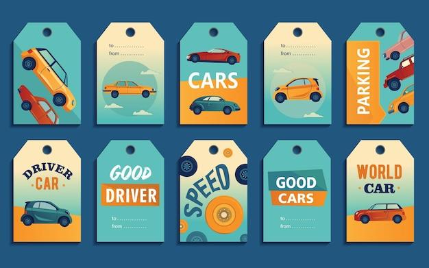 Desenhos de etiquetas especiais para automóveis retrô e modernos. carros diferentes em fundo colorido com texto