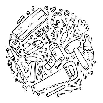 Desenhos de ferramentas de carpintaria juntos, estilo doodle