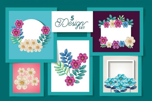 Desenhos de flores e folhas de verão tropical