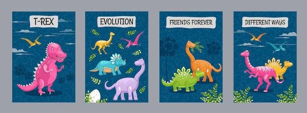 Desenhos de folhetos publicitários com vários dinossauros engraçados