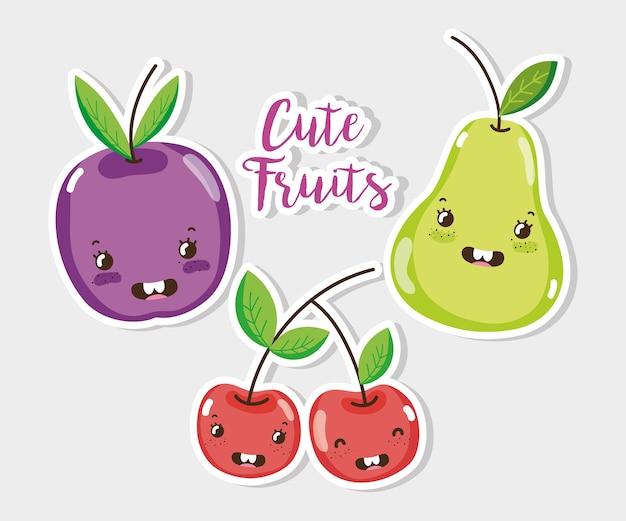 Desenhos de frutas bonitos vector design gráfico ilustração