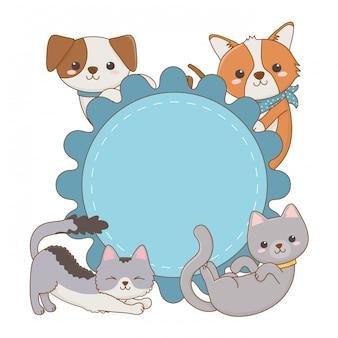 Desenhos de gatos e cães no design de moldura de círculo