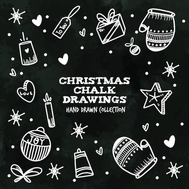 Desenhos de giz de natal - coleção desenhada mão