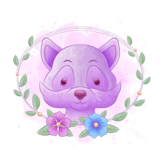 Desenhos de guaxinim com molduras de flores e fundos em aquarela