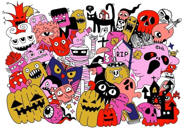 Desenhos de halloween bonitos desenhados à mão, ilustração