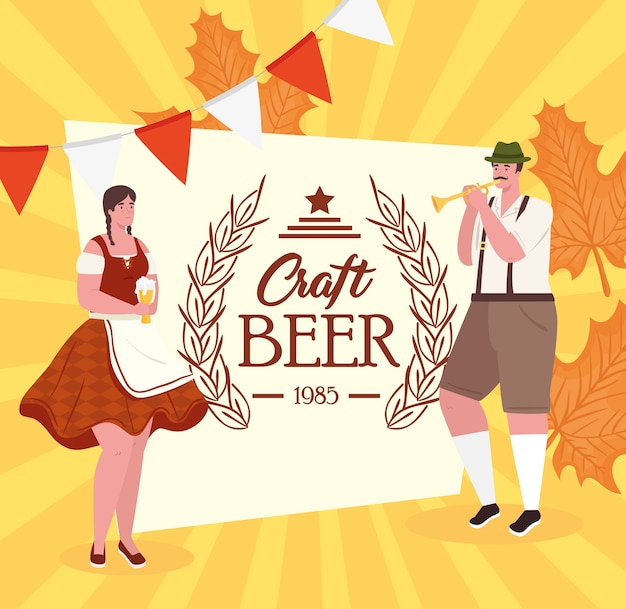 Desenhos de homem e mulher com design de pano tradicional, festival oktoberfest da alemanha e tema de celebração