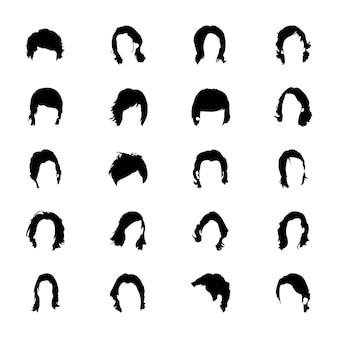 Desenhos de ícone sólido de cabelo