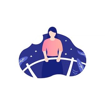 Desenhos de ilustração de mulher triste