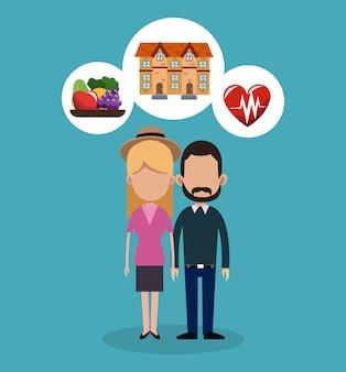 Desenhos de imóveis, alimentos e saúde