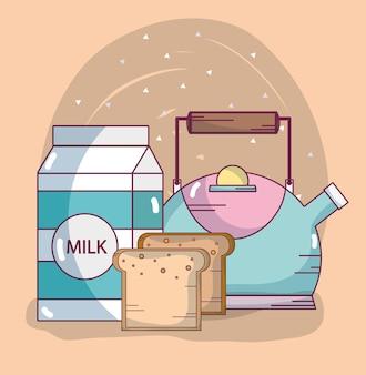 Desenhos de ingredientes de pequeno-almoço