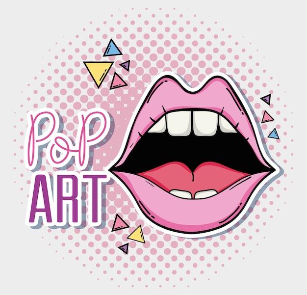 Desenhos de lábios sexy pop art vector design gráfico ilustração