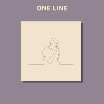 Desenhos de linhas contínuas de um homem triste, cansado e preocupado por sofrer de depressão na saúde mental