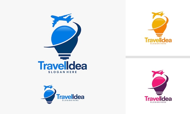 Desenhos de logotipo da idéia de viagem, logotipo de viagem de avião e lâmpada