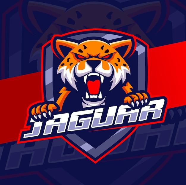 Desenhos de logotipo da mascote jaguar leopardo zangado