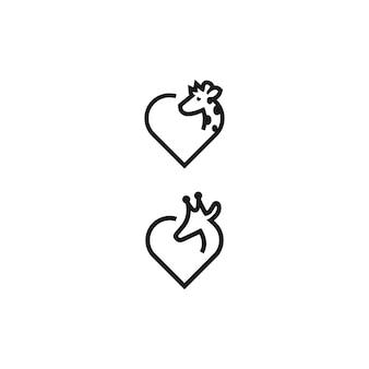 Desenhos de logotipo de amor girafa